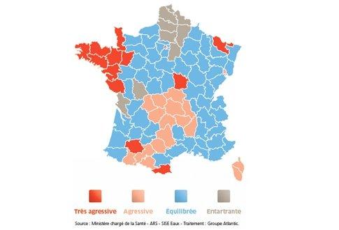 Carte de France de l'agressivité de l'eau (Source : Ministère chargé de la Santé – ARS – SISE Eaux – Traitement : Groupe Atlantic)