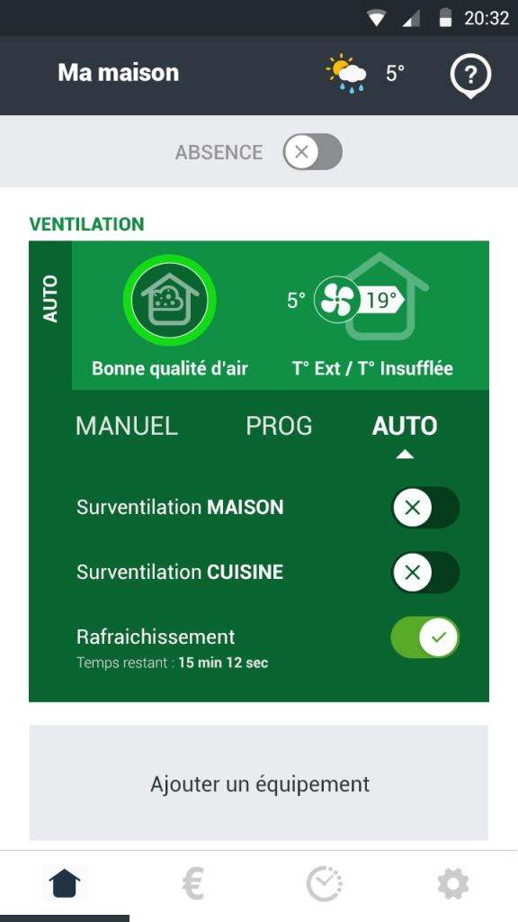 Grâce au mode Auto de votre ventilation Optimocosy, votre VMC se régule d'elle-même.